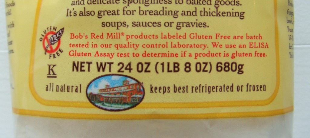Gluten Free Label on Bob's Red Mill Flours