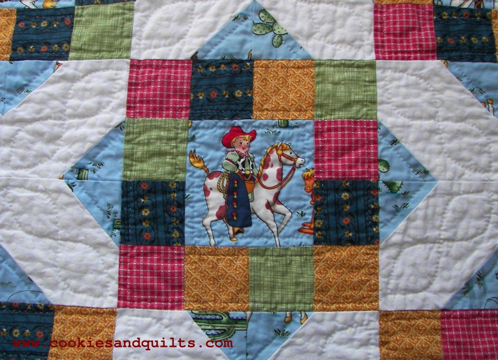 Hand quilted cowboy blanket