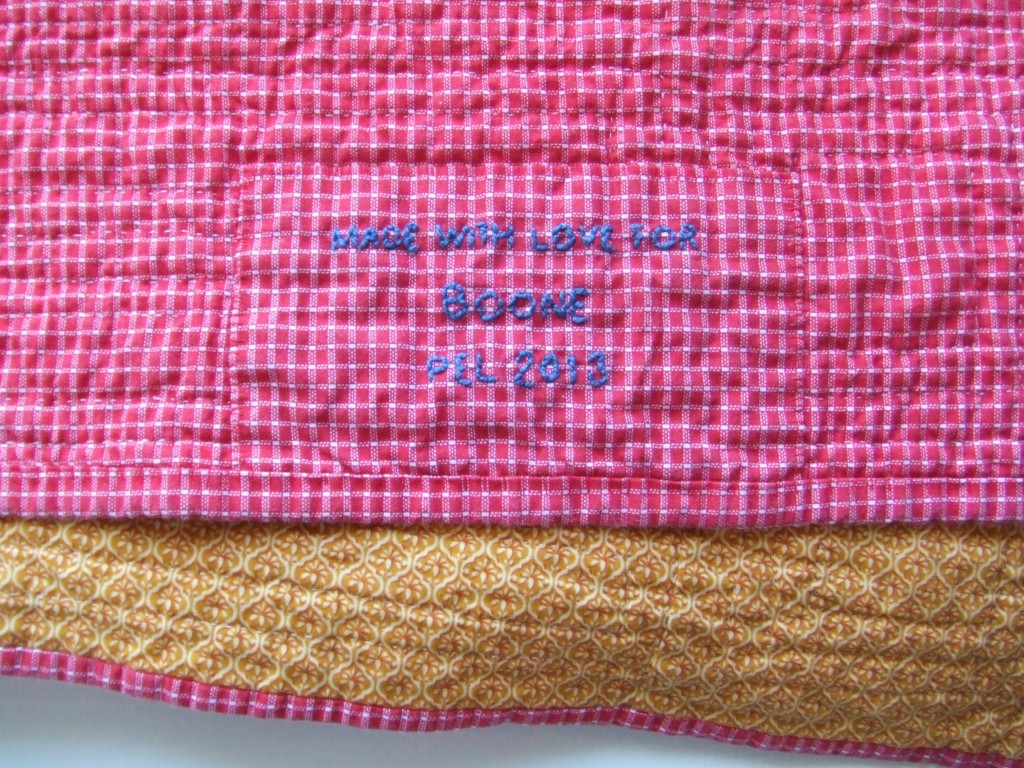 hand embroidered quilt label